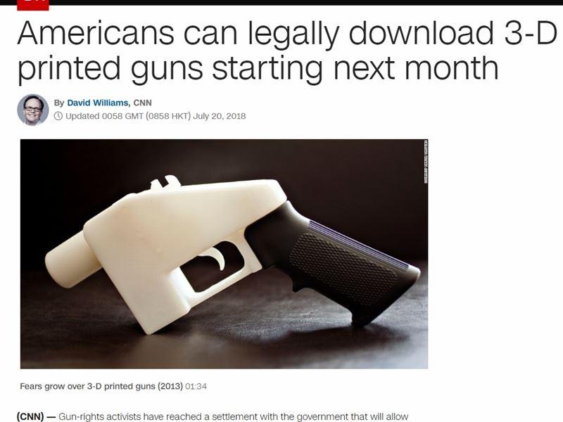製槍發明家威爾森於2013年推出全世界第一把3D列印手槍。(圖取自CNN網頁edition.cnn.com)