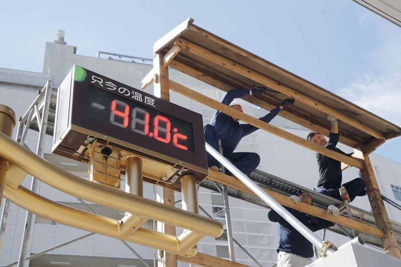 日本埼玉縣熊谷市23日出現超過41度高溫。(共同社提供)