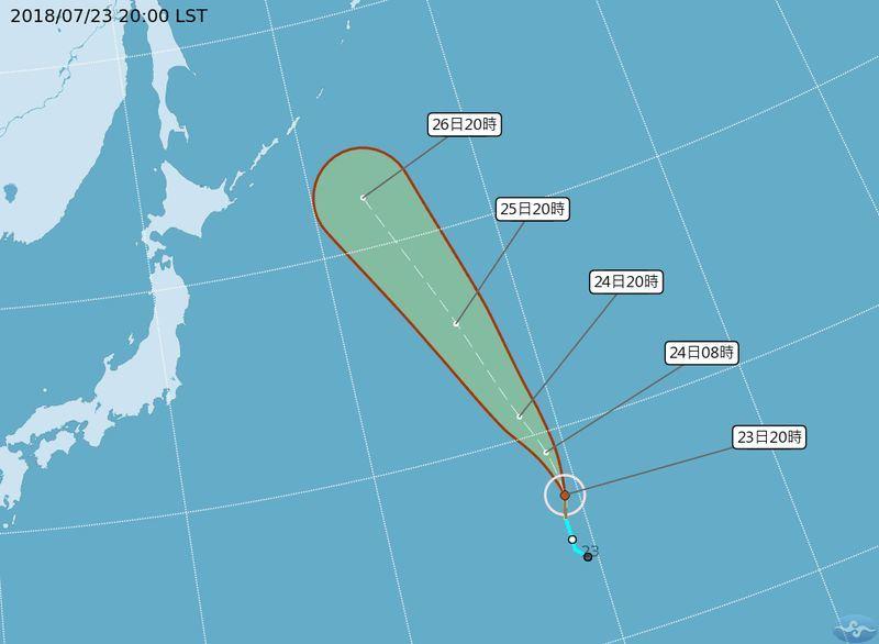 中央氣象局觀測,颱風悟空23日晚間形成,研判未來對台灣無影響。(圖取自中央氣象局網頁cwb.gov.tw)