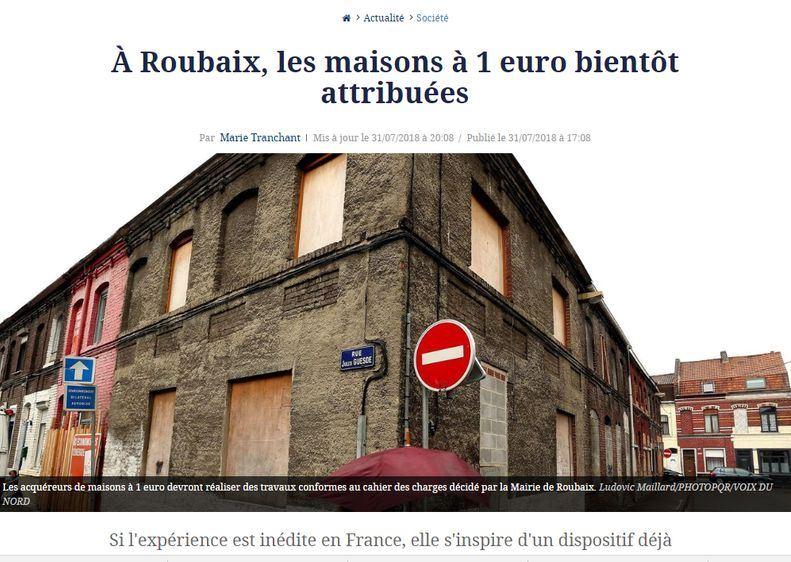 費加洛報報導,魯貝市今年3月底開始進行一項實驗性計畫,提供市內部分閒置空屋,開放有意者申請以一歐元的象徵性價格購入,然後自行整修。(圖取自費加洛報網頁www.lefigaro.fr)