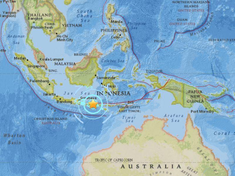 印尼龍目島外海5日遭到規模7強烈地震襲擊。(圖取自USGS網頁earthquake.usgs.gov)