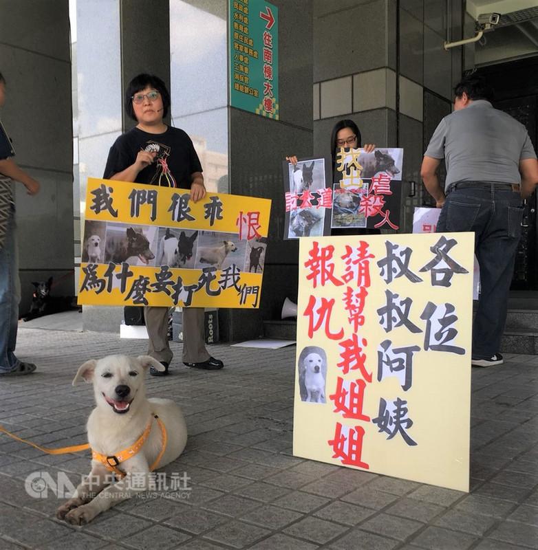 屏東麟洛運動公園4日清晨發生5隻流浪犬在公園內被打死,來自全台各地的動保人士10日在屏東縣政府前陳情,要求政府盡速緝兇。中央社記者郭芷瑄攝 107年8月10日