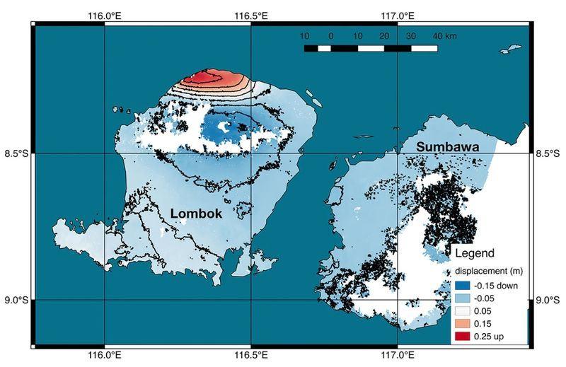 根據科學家研究,印尼龍目島在遭遇規模6.9強震襲擊後,海拔高度上升達25公分。(圖取自NASA網站 www.jpl.nasa.gov)