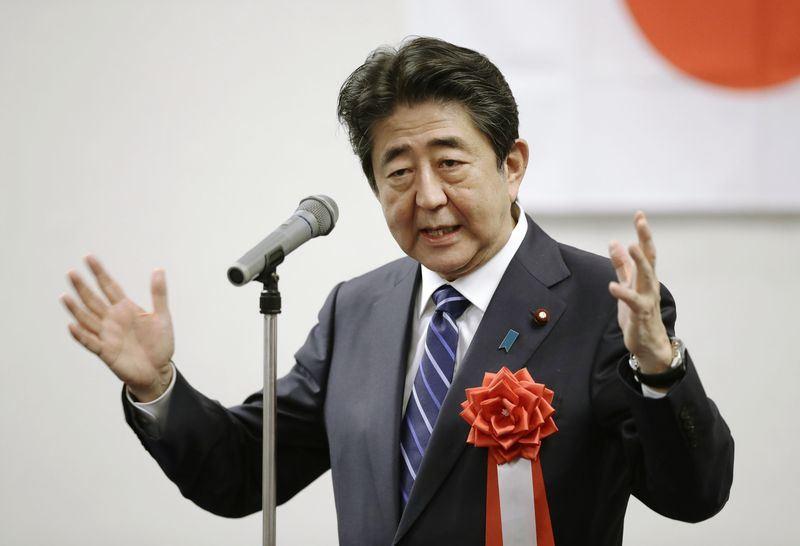日本首相、自民黨總裁安倍晉三11日說,他6年前參選總裁選舉的志向與理念,至今沒有任何一點改變。(共同社提供)