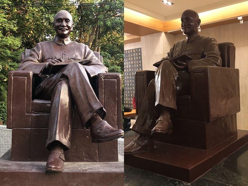 政治大學中正圖書館內的蔣公銅像(右)已遷移至華興育幼院(左)安置。(政大提供)