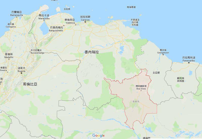 聯合國難民事務高級專員公署估計,近年來約150萬人逃離委內瑞拉。羅賴馬(紅色處)是委內瑞拉移民入境巴西的主要地區,其中約3萬人在博阿維斯塔。(圖取自Google地圖網頁www.google.com.tw/maps)