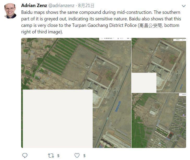 德國的中國少數民族政策專家岑茲表示,約有100萬的維吾爾人被關在「再教育營」接受信仰和思想改造。百度地圖上的空白區域,顯示其敏感性。(圖取自岑茲推特twitter.com/adrianzenz)