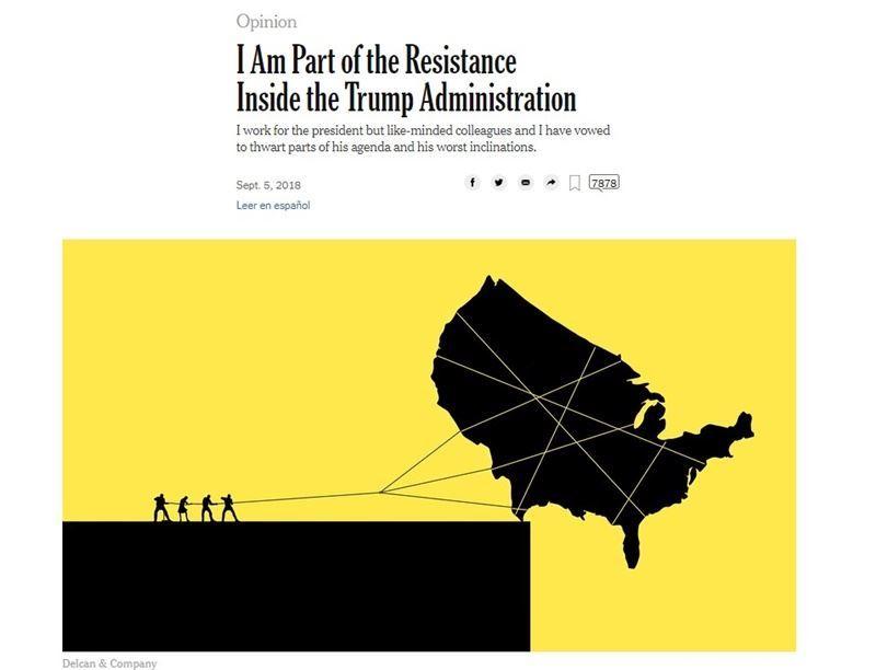 紐約時報5日刊出美國川普政府高階官員的匿名投書,證實政府高層官員在暗中反抗抵制川普。(圖取自紐約時報網頁www.nytimes.com)