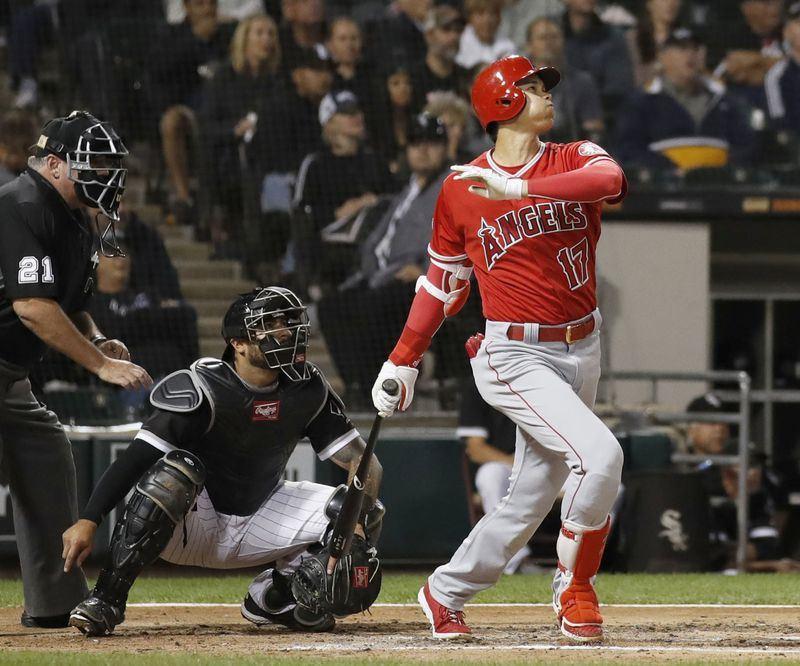 美國職棒大聯盟MLB洛杉磯天使隊日籍二刀流球星大谷翔平7日敲出3分砲,個人本季第19轟。(共同社提供)