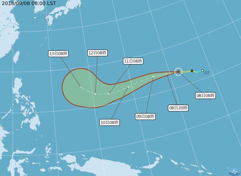 今年第22號颱風山竹7日形成,氣象專家吳德榮說,山竹颱風可能是今年對台灣威脅最大的一個颱風。(圖取自中央氣象局網站 www.cwb.gov.tw)