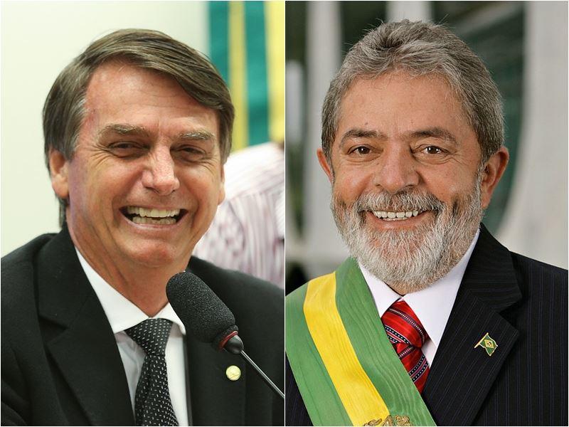 巴西總統選戰人氣最高的兩位主角波索納洛(左)和魯拉(右),現在分別身陷牢房和病房。(圖取自維基共享資源,左圖作者Agência Brasil Fotografias,CC BY 2.0;右圖作者Agência Brasil,CC BY 3.0 br)