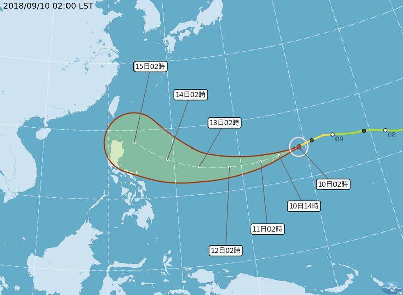 氣象局觀測,第22號中度颱風山竹可能增強為強烈颱風,15、16日最接近台灣。(圖取自中央氣象局網頁www.cwb.gov.tw)