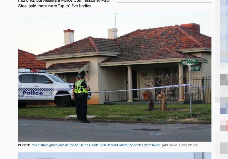 澳洲發生震驚全國的5死命案,當局10日證實,在伯斯市郊區一處民宅發現的5具遺體中,有3人是學齡前女童。圖為警方在遺體發現處房舍外站崗。(圖取自澳洲廣播公司網頁abc.net.au)