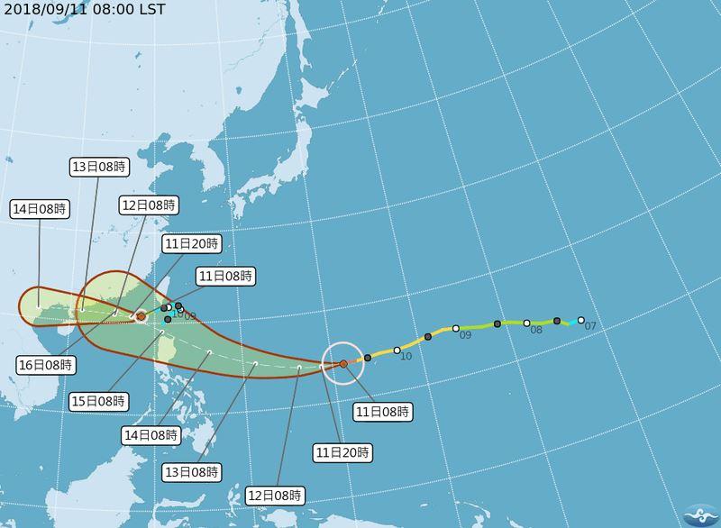 中央氣象局觀測,第22號中度颱風山竹15、16日最接近台灣;原本在台灣南方海域的熱帶性低氣壓,11日上午也增強為第23號輕度颱風百里嘉。(圖取自中央氣象局網站 www.cwb.gov.tw)