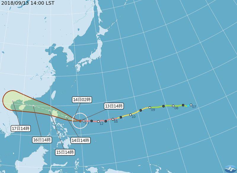 強颱山竹15日最接近台灣,外圍環流將為南部和東部帶來明顯雨勢。(圖取自中央氣象局網站 www.cwb.gov.tw))