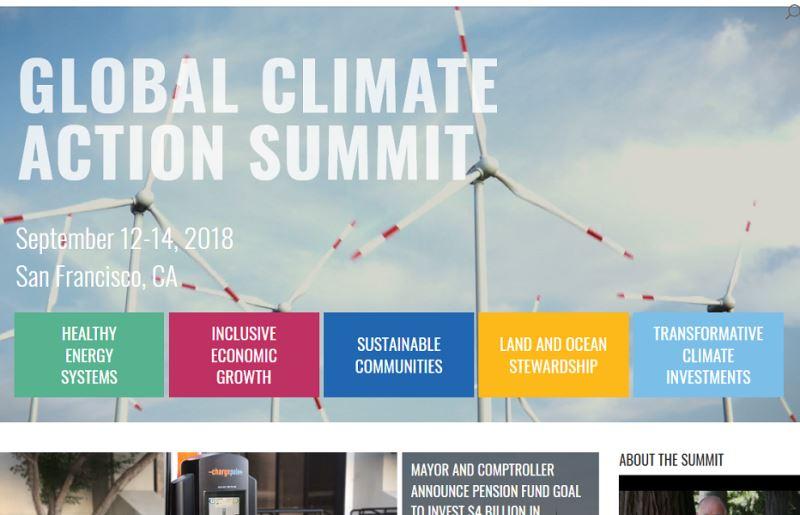 全球氣候行動峰會12日至14日在美國舊金山舉辦,與會27座城市代表宣布已不再增加溫室氣體排放量。(圖取自全球氣候行動峰會網頁globalclimateactionsummit.org)