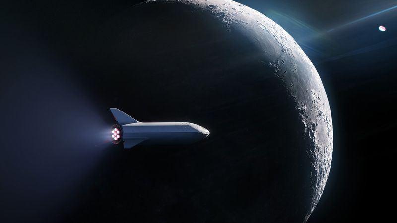美國億萬富豪馬斯克的太空探索科技公司(SpaceX)13日宣布推出繞月旅行計畫,將用大型獵鷹火箭帶領首位乘客展開太空之旅。(圖取自SpaceX推特twitter.com/SpaceX)