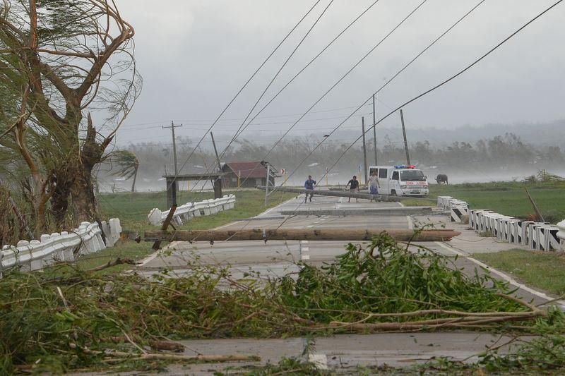 颱風山竹15日侵襲菲律賓,強風吹倒樹木與電線桿。(法新社提供)