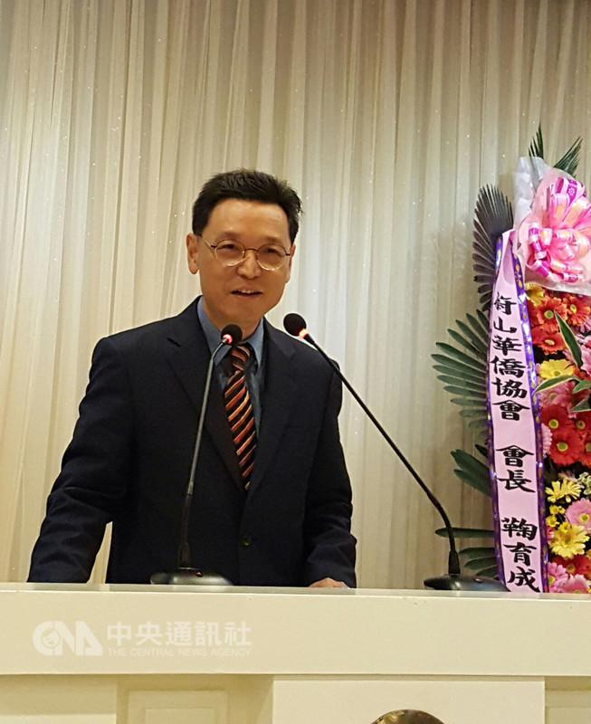 駐韓國台北代表部新任代表唐殿文15日晚間在首爾出席韓華僑界舉辦的歡迎晚宴。中央社記者姜遠珍首爾攝 107年9月15日