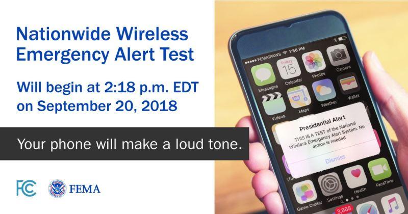 川普政府將於20日向全美手機傳送「總統警報」測試警訊,此系統目的是警告大眾發生國家緊急事故。(圖取自FEMA推特twitter.com/fema)
