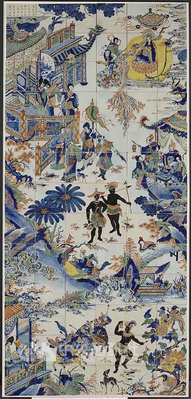 17世紀是一個探索新知和拓展領域的時代,東西交流促進彼此理解。國立故宮博物院推出「亞洲探險記—17世紀東西交流傳奇」,其中的「青花釉上彩中國風與黑人紋飾壁磚」(圖)展現荷蘭人對東方的印象。(故宮博物院提供)中央社記者鄭景雯傳真 107年12月19日