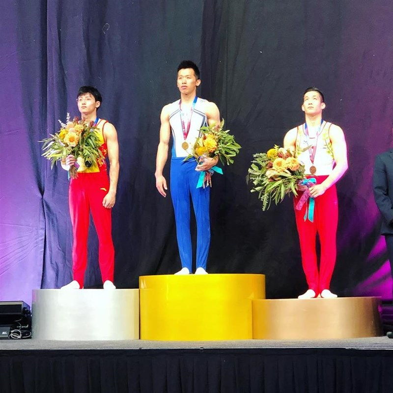 「鞍馬王子」李智凱23日在體操世界盃墨爾本站拿下鞍馬金牌。(圖取自facebook.com/gymnasticsworldcup)