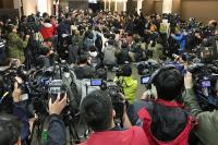 馬英九回應起訴  大批媒體採訪