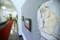 總統獲贈貓畫像 國史館收藏