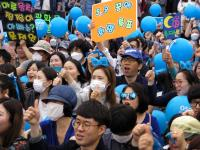 南韓總統候選人文在寅競選造勢現場