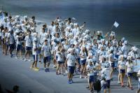 世大運開幕式 阿根廷選手團戴特色帽進場