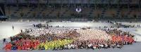 台北世大運開幕式 表演團體合影
