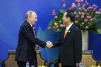 APEC領袖企業代表對話 宋楚瑜蒲亭互致意