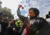 抗議勞基法修惡  勞工政院丟血球