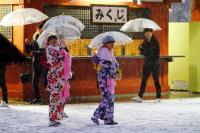東京雪景一角 白雪中的和服身影