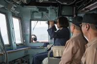 蔡總統首度登艦出海測考海軍戰力(1)