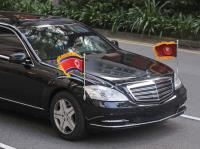 金正恩抵新加坡 兩座車未掛車牌(2)