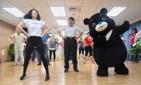 柯文哲與熊讚跳健康操