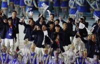 亞運開幕式 中華代表團進場不忘拍照留念
