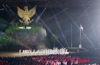 亞運開幕式 升起印尼國旗(2)