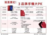 3品牌紅色手機大PK 喜歡哪一款