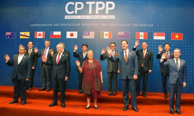 11個亞太國家8日簽署瘦身版的跨太平洋夥伴協定(TPP),名為跨太平洋夥伴全面進展協定(CPTPP),將降低關稅。(共同社提供)