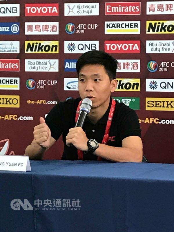 航源FC在亞足聯盃(AFC CUP)的首次主場戰役,14日將迎戰來自北韓的4.25SC;航源FC的徐翊(圖)表示「回家比賽感覺就不一樣」,尤其站上熟悉的人工草皮球場,相信球隊的優勢可有好的發揮。中央社記者李晉緯攝 107年3月13日