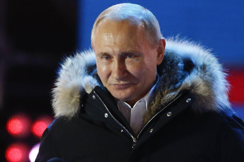 俄羅斯總統蒲亭18日在大選取得壓倒性勝利,贏得6年任期。(安納杜魯新聞社提供)