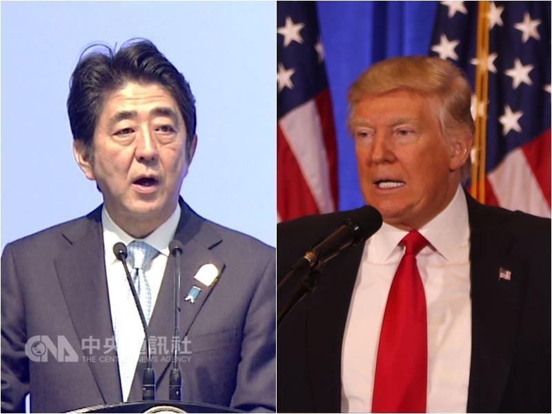 美國總統川普(右)將與日本首相安倍晉三會面,雙方討論焦點包含北韓問題、貿易及南海航行自由。(中央社檔案照片)