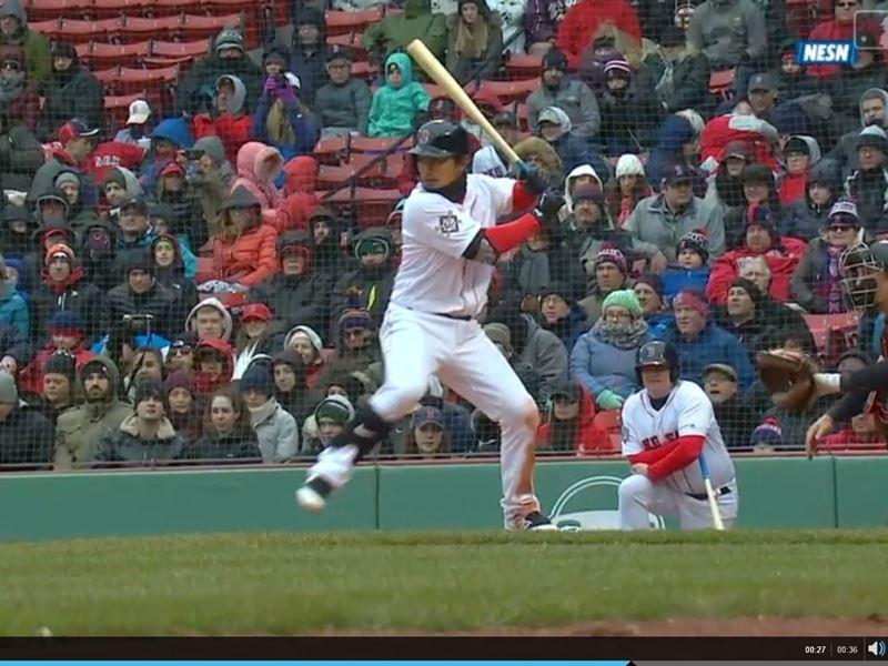 美國職棒MLB紅襪隊15日對上金鶯隊,效力紅襪的台灣野手林子偉全場4打數敲2安,有1分打點。(圖取自MLB網頁mlb.com)