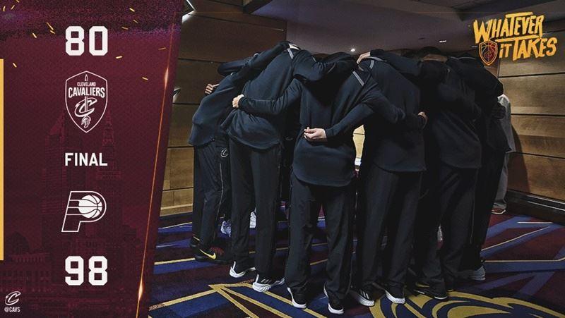 美國職籃NBA克里夫蘭騎士隊15日首戰就以80比98慘敗給印第安納溜馬。(圖取自克里夫蘭騎士隊推特twitter.com)