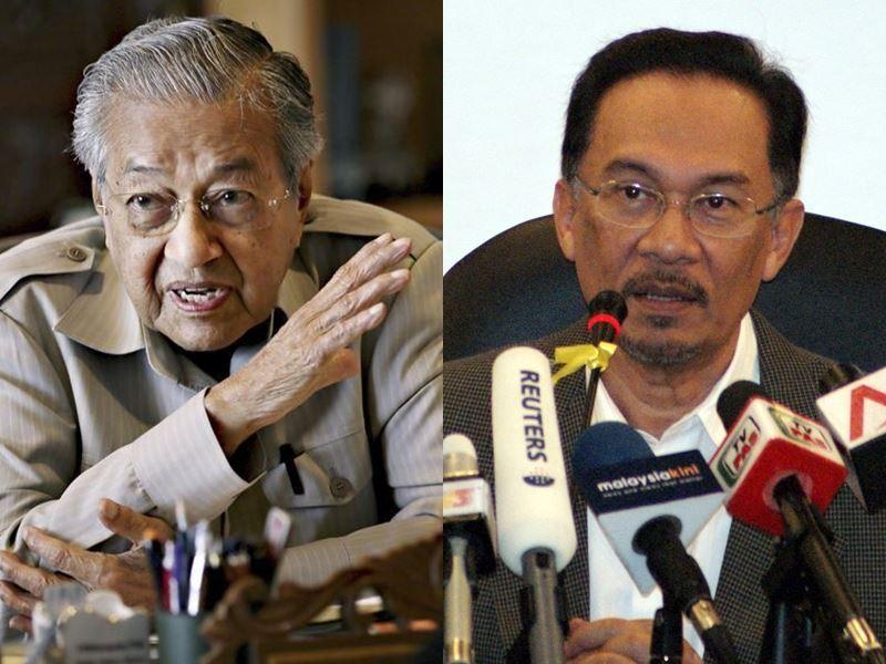 馬來西亞政壇60年來首度變天後,92歲新首相馬哈地(左)和繫獄的前副首相安華分別發聲,試圖緩和歧見。(圖左為檔案照片/共同社提供;右為中央社檔案照片)