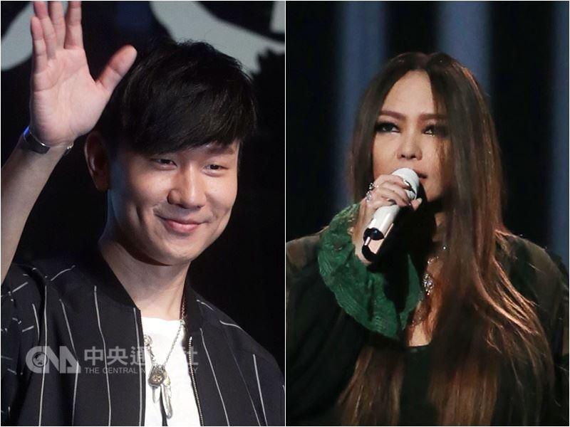 歌手「JJ」林俊傑(左)以專輯「偉大的渺小」、歌手張惠妹(右)以「偷故事的人」各入圍6獎,成為本屆入圍大贏家。(中央社檔案照片)
