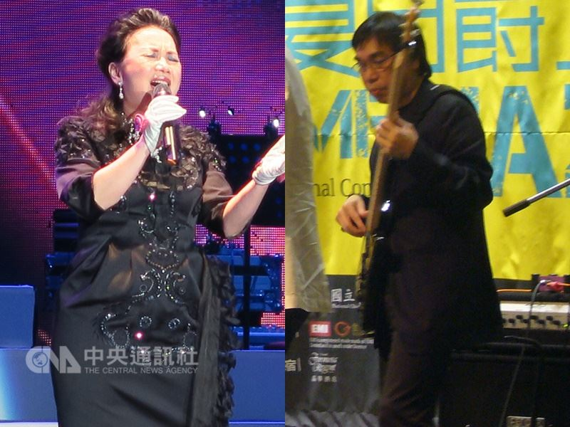 第29屆金曲獎16日公布入圍名單,宣布本屆特別貢獻獎將頒給歌手蘇芮(左)、貝斯演奏家郭宗韶(右)。(中央社檔案照片)