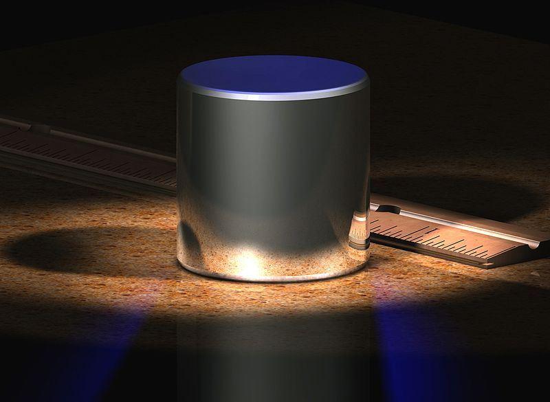 圖為國際公斤原器的電腦渲染圖。(圖取自維基共享資源;作者en:User:GregL,CCBY-SA3.0)